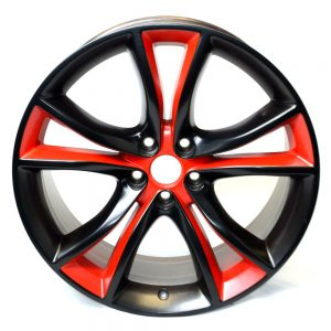 Wheel with red and black two-color finish