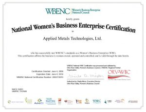 Certificate showing AMT's Women's Business Enterprise certification