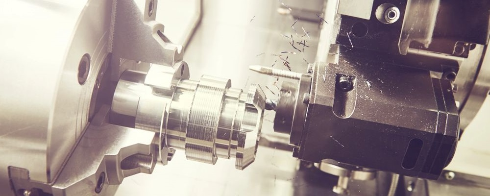 Part being machined in automated CNC machining center